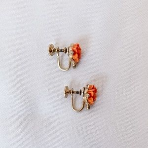 Vintage - Clip On Rosebud Earrings